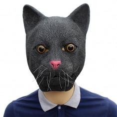 Masca latex pisica neagra felina mata pisi miau tom cat Cosplay Halloween +CADOU