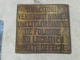 RECLAMA ETICHETA METALICA   AMBUTISAT PROTECTIA MUNCII COLECTIE
