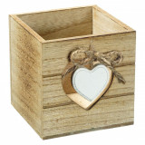 Suport din lemn pentru creioane si pixuri, model inima, 9x9x9 cm