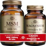 Solgar Pachet MSM 1000mg 60 tablete + Magnesium cu B6 100 tablete GRATIS