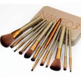 Set 12 Pensule Machiaj Profesional Naked, din Par Sintetic, pentru Machiajul Zilnic, Carcasa Metalica