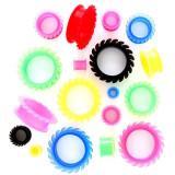Tunel pentru ureche – circular şi flexibil - Lățime: 20 mm, Culoare Piercing: Verde neon