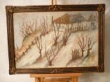 Tablou vechi-Iarna-Dumitru Ghiata, Peisaje, Ulei, Impresionism