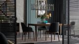 Masa din MDF, pal si sticla Logan Negru / Nuc, L200xl100xH77,7 cm
