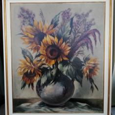 Tablou vechi Vas cu Floarea soarelui pictura in ulei inramat 82x70cm