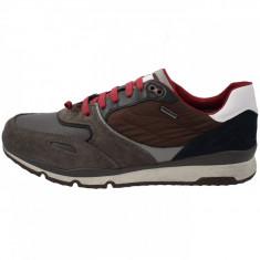 Pantofi tip adidasi de barbati, din textil si piele, Geox, U44S7A-C9E6Z-E7, combinatie de culori