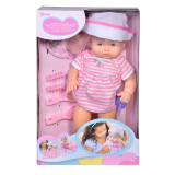 Papusa interactiva Baby Doll cu palarie si rochie roz, 3 ani+