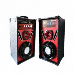 Set 2 boxe cu amplificator cu bluetooth, USB (mp3), AUX, card SD