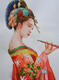Acuarela portret gheisa japoneza 40x30cm - tablouri tablou picturi pictura