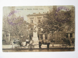 Cumpara ieftin Rara! Bucuresti-Liceul si statuia Gh.Lazar,trasura,carte post.ocup.germana 1917, Circulata, Printata