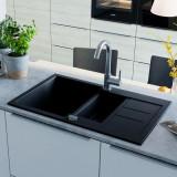 Cumpara ieftin Chiuvetă de bucătărie din granit, bazin dublu, negru