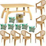 Set gradina King masa 80x140 cm cu 6 scaune Carnaval culoare bej,6 perne scaun,Fata de masa 150x220cm B001134 Raki