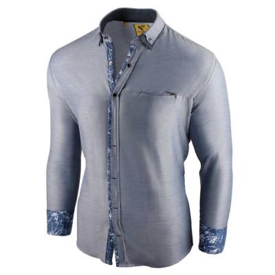 Camasa pentru barbati, slim fit, albastru deschis, casual, cu guler - sedna brighton foto