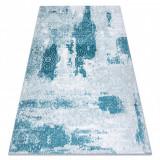Covor MEFE modern 8731 Rozetă vintage - structural două niveluri de lână cremă / albastru, 140x190 cm