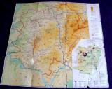 Harta fizica si economica a judetului Caras-Severin, format 74 x 69 cm, anii 90