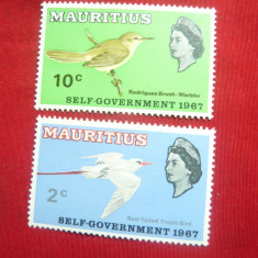 2 Timbre Mauritius colonie1967 Pasari , Regina Angliei