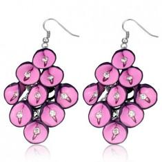 Cercei FIMO - floare anthurium roz cu zircon
