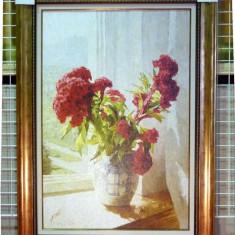 Tablou pictat manual pe panza in ulei A-115, Natura, Realism