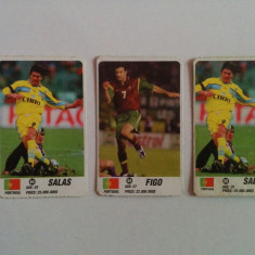 Lot 3 cartonașe fotbal - EURO 2000 - jucători din Portugalia (Figo, Salas)