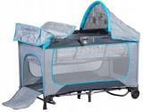 Patut Pliabil Multifunctional pentru Copii cu Masa de Infasat si Baldachin cu Jucarii, Plasa Mesh Anti-Tantari si Geanta Transport