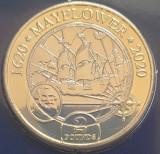 2 pounds Isle of Man ( Insula Man) 2020 Mayflower 400th Anniversary, B unc, Europa