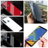 Husa Glass Duo cu spate din sticla pt Samsung Galaxy A7 2018 / A8 2018 / A9 2018, Alt model telefon Samsung, Alb, Negru, Rosu, Roz, Gel TPU