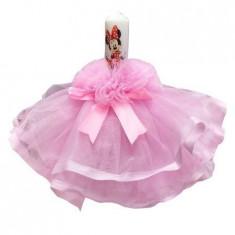 Lumanare de botez Minnie, roz, 28 cm