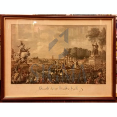 CHARLES MONNET - GRAVUR- SCENA ISTORIA FRANTEI - EXECUTIA MARIEI ANTOANETA- 16 OCT 1793