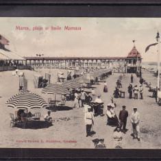CONSTANTA  -  MAMAIA    PLAJA  SI  BAILE  MAMAIA  CIRCULATA  1907  UPU, Printata