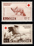 Algeria 1957, Mi #365-366**, Crucea Rosie, animale, pasari, MNH, cota 15 €!, Fauna, Nestampilat