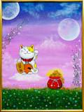 """Tablou pictura acrilica 30x40 cm """"Pisica Norocoasa"""", Animale, Acrilic, Impresionism"""