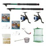 Cumpara ieftin Set pescuit cu 2 lansete 2,4 metrii, 2 muliente YF200, gute,cutie ace, spomb, minciog si juvelnic