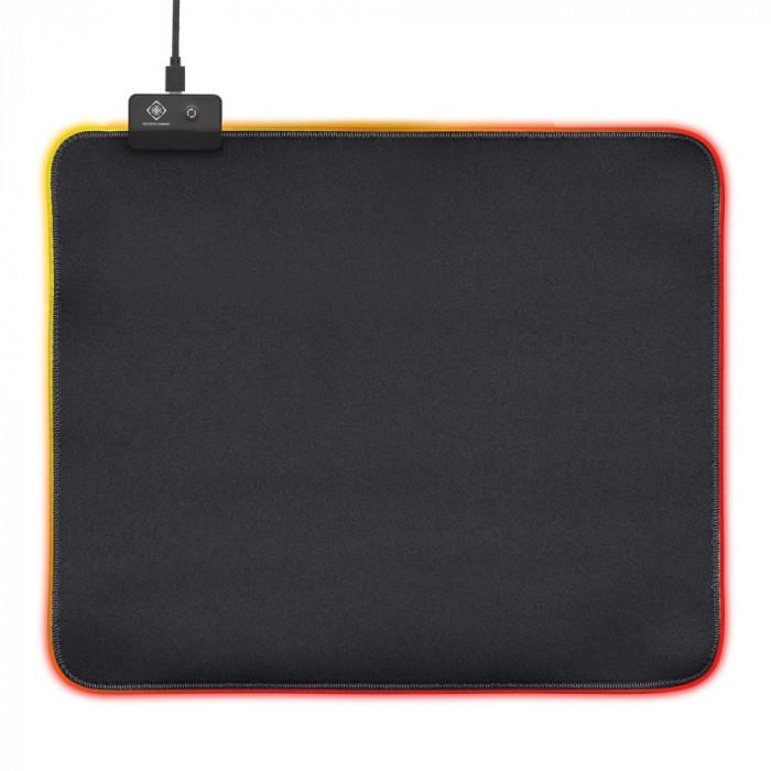 Mousepad gaming RGB DELTACO GAMING XL, 45x40cm, 6xRGB modes, 7xStatic modes, Negru