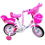 "Bicicleta pentru fete, cadru metalic,scaun papusi, 12"" Alb"