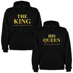 Set 2 Hanorace cuplu The King si His Queen, negru/auriu