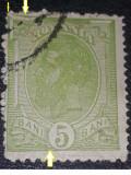 Cumpara ieftin EROARE ROMANIA 1900, CAROL I, spic de grau 5 bani verde cadru sparT, Stampilat