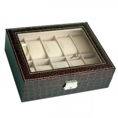 Cutie caseta eleganta depozitare cu compartimente pentru 10 ceasuri, imprimeu... foto