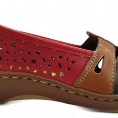Pantofi dama casual din piele Rieker 45856 rosu