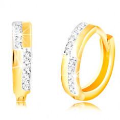 Cercei rotunzi din aur de 14K - dungi netede si linii cu zirconii transparente