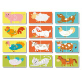 Puzzle Ferma Dodo, 24 piese, 13 x 6.5 cm, carton, 3 ani+