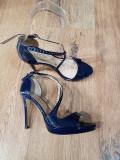Superbi pantofi dama noi eleganti piele naturala integral foarte comozi 37, Bleumarin, Cu toc