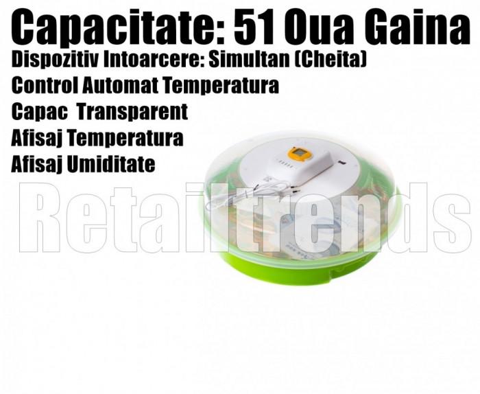 Incubator Clocitoare Electric 51 Oua Pui Gaina Dispozitiv Intoarcere Temp Umid