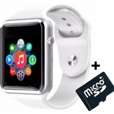 Ceas Smartwatch cu Telefon iUni A100i, BT, LCD 1.54 Inch, Camera, Alb + Card MicroSD 4GB Cadou