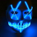 Masca horror Purge luminoasa, 3 moduri iluminare, unisex, marime universala