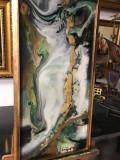 Verd smarald Peisaj abstract. Tablou abstract. Tablou original semnat