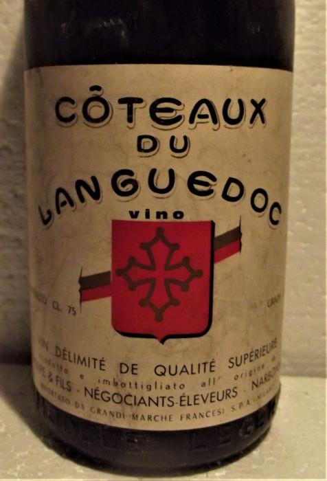 90 - Vin COTEAUX DU LANGUEDOC, cl 75 gr 12 RECOLTARE 1964