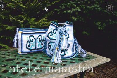set genti crosetate cu motivul popular din Dobrogea floarea pologului foto