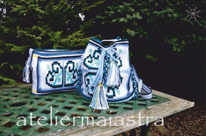 set genti crosetate cu motivul popular din Dobrogea floarea pologului
