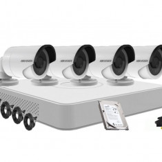 Kit supraveghere HIKVISION DS 7104HGHI F1 4 camere Hikvision DS 2CE16C0T IRP2.8 1 Mp IR 20M HDD 250 GB