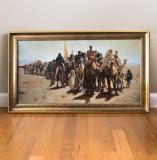 Exodul, peisaj cu evrei, tablou cu piramide. Peisaj cu desert tablou pictat ulei, Peisaje, Realism